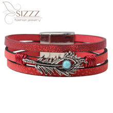 SIZZZ 2019 European and American leather multi-layer ladies feather bracelet&bangles for women(China)