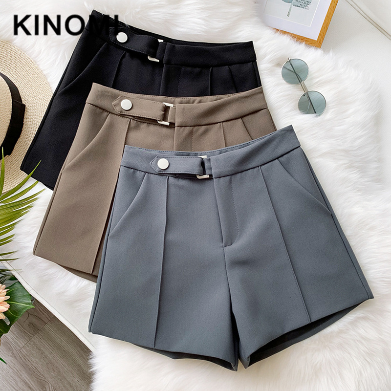 KINOMI New 2020 Spring Summer Women Fashion Wide Leg Hot Short Pant Casual High Waist Button Korean Style Trousers Pocket Female
