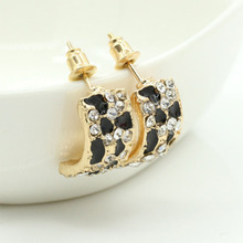 Vintage Leopard Print Stud Earrings Gold Color Shiny Rhinestone Crystal 2019 Fashion Jewelry Party Gift Wholesale WD653