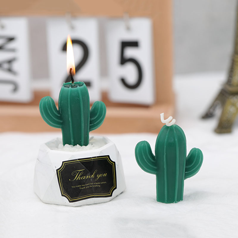 Creative Cactus Aromatherapy Wax Candle Mold 3D Plaster Gypsum Mould Succulent Plants Silicone Candle Molds
