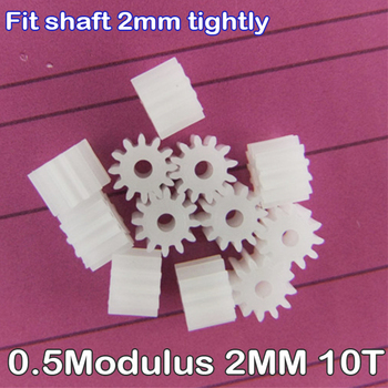 10PCS Plastic Spindle Motor Gear 102A 0.5 Modulus 2MM T=10 10 Teeth DIY Micro Mini DC Electric Motor Model Small Toy Car Boat image
