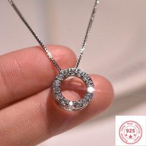 925 Silver Color Necklace Pendant Jewelry for Women Full Diamond Circle Pendant Luxury Pierscionki 925 Silver Color Necklace