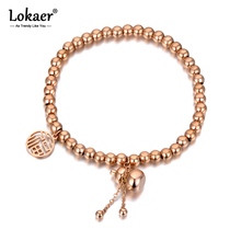 Lokaer Ethnic Chinese Style Stainless Steel Good Luck & Gourd Charm Bracelets For Women Rose Gold Beaded Bracelet Jewelry B20138