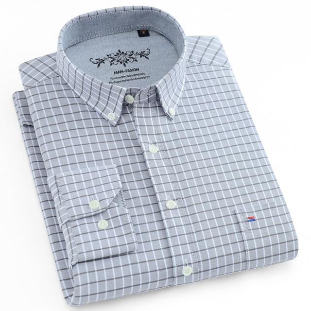 Men's Plaid Checked Oxford Button-down Shirt 2