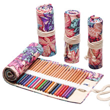 12/24/36/48/72 Holes Roll Colored Pencil Case Canvas Wrap Roll Curtain Up Box Art Pen Bag Pouch Stationery Gift