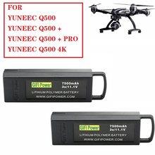 Bateria de backup da grande capacidade da bateria de 11.1v 7500mah gifi 3s lipo para yuneec q500/q500 +/q500 4k/q500 + pro 4k rc zangão
