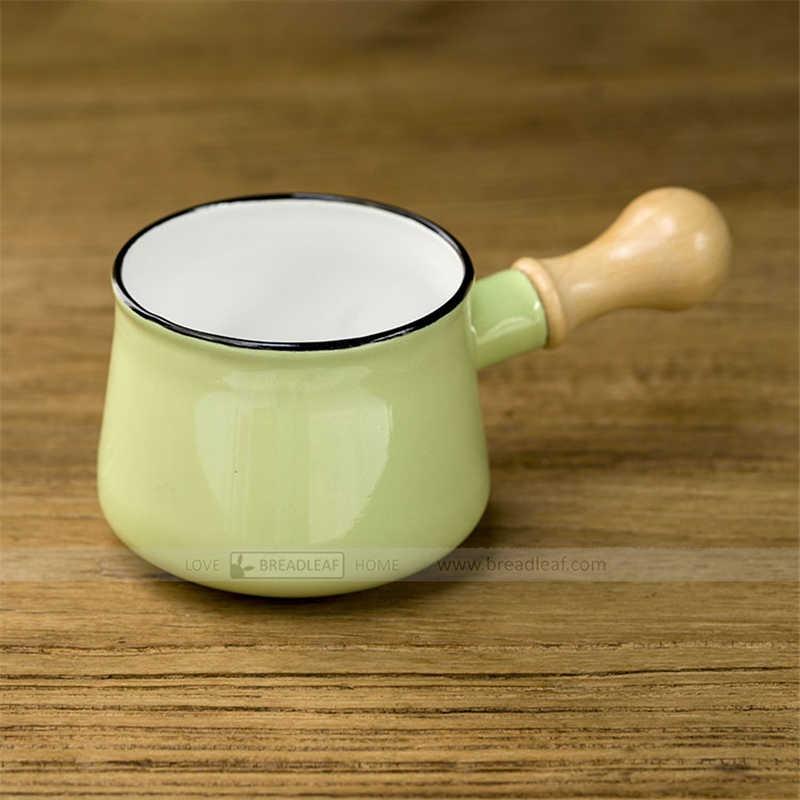 Casserole à lait 9cm en porcelaine émail Mini-Pot à beurre avec manche en bois simple casserole électromagnétique en bois casserole à Sauce petit faitout