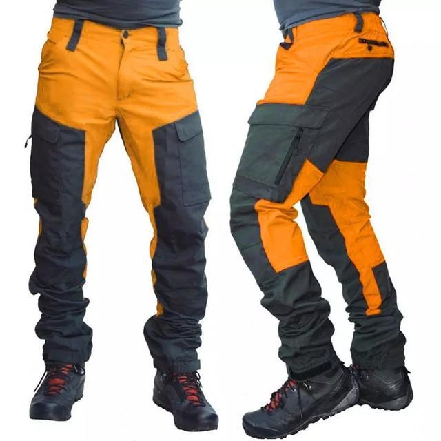SCIONE Casual Men Fashion Color Block Multi Pockets Sports Long Cargo Pants Work Trousers for Men 1