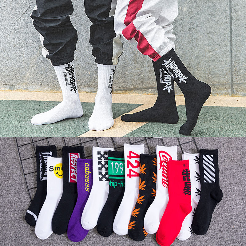 Hip hop   socks   men and women street long   socks   fashion sports soft cotton printed   socks   basketball   socks   in stockings long   socks