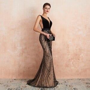 Image 5 - Robe de soirée longue noire avec traîne, robe de bal, style sirène, avec décolleté en dentelle, paillettes, robe de bal, style dubaï, 2020
