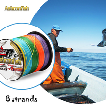 Super carp fishing equipment line 8 strands 300M strong pe sea fishing braid tools Rainbow/colorful 6-300LB wires line for sea