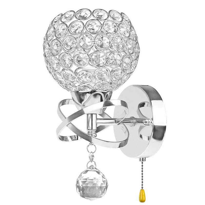 Led Modern Crystal Wall Lamp Sconce Light Bulb Bedroom Hallway Lighting Fixture, With On/Off Pull Switch