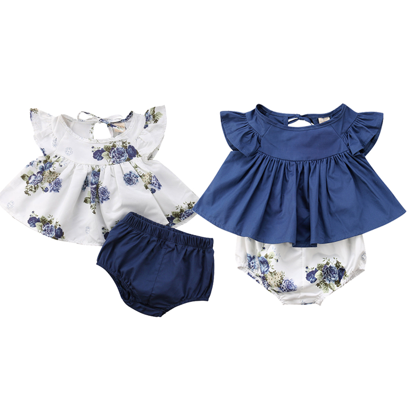 Baby Bodysuit New Newborn Infant Kids Baby Girl Floral Tops+Shorts 2pc/Set Outfits O-neck Flower Print 0-24M Twins Baby Clothes