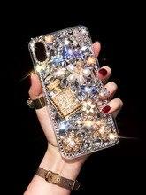 Luksusowe Bling kryształ diament perfumy butelka skrzynki pokrywa dla Xiaomi Redmi 9 9A 9T Pro Note9 Pro Max Note9S Note8 Pro etui na telefony