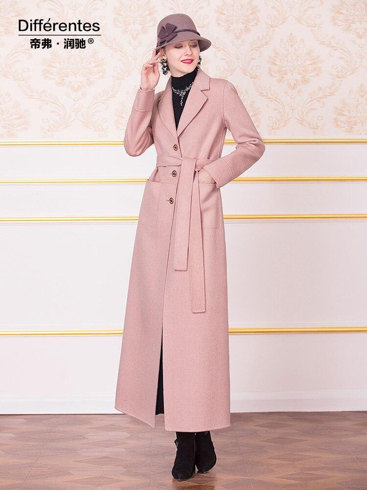 European Style Wool Coat Pink Fall Winter Turn Down Collar Long Sleeve Outwear with Belt Big Size DZ2177 - 2