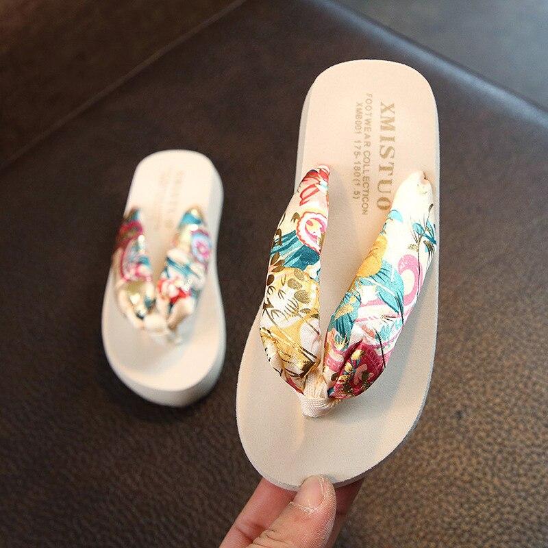 Floral Beach Sandals Wedge Platform Thongs Slippers Flip Flops suummer shose for women girls