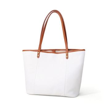 New Women Luxury Bag Casual Tote Female White Color Fashion Shoulder Handbag Lady Cowhide Genuine Leather Shoulder Shopping Bag