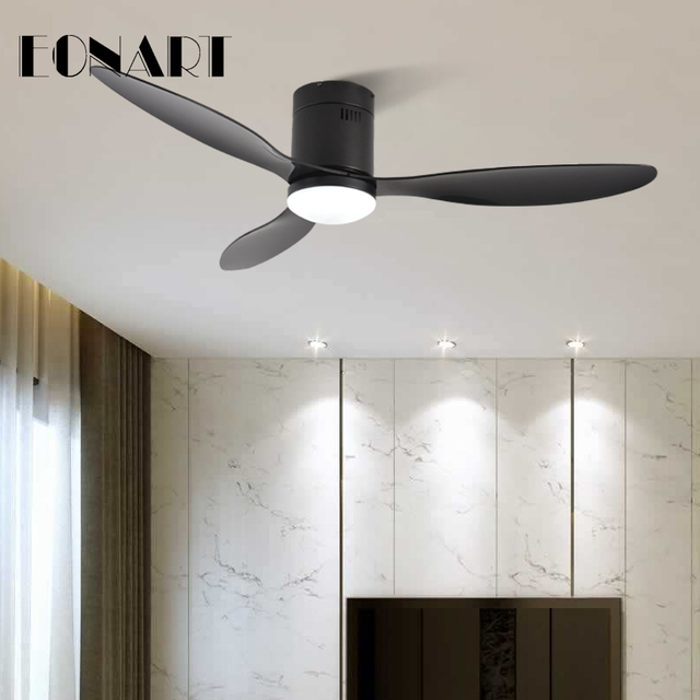 52 Inch Decorative DC Ceiling Fan With Remote Control Without Light Black ABS Ceiling Fans with light 220v Ventilador De Techo