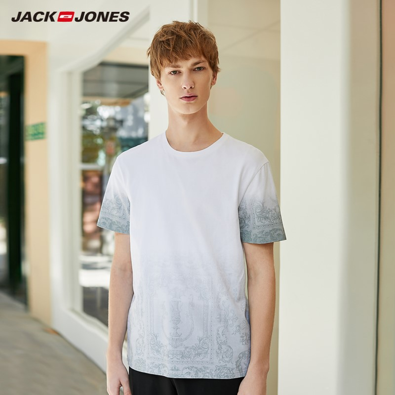 JackJones Men's 100% Cotton Gradient Print Round Neckline Short-sleeved T-shirt|Streetwear 220101530