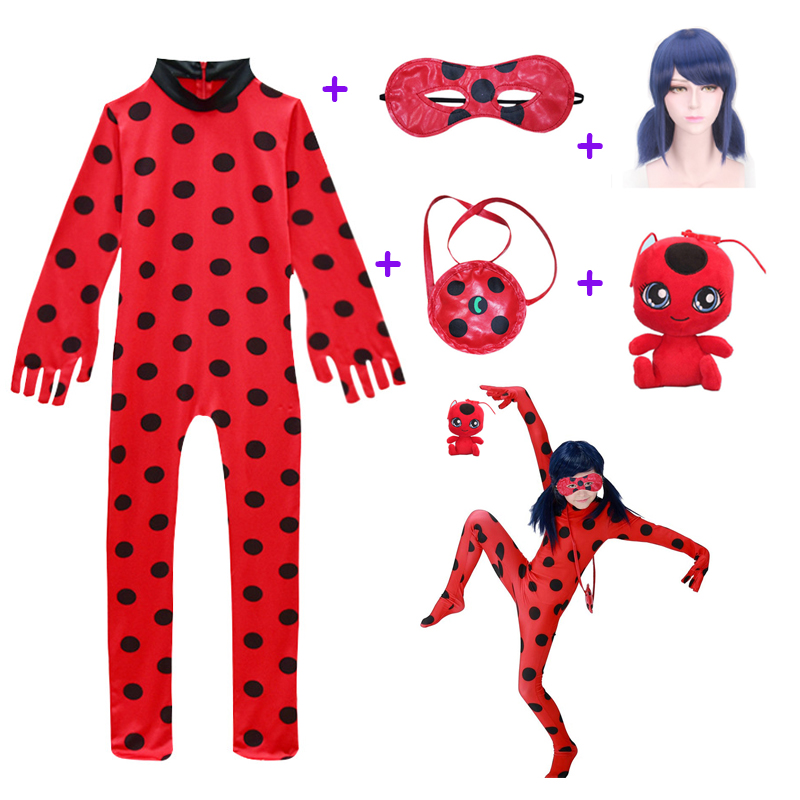 Toddler Clothes Fancy Lady Bug Halloween Costumes Girls Children Spandex Ladybug Costume For Kids Suit Wig Bag Girls Xmas Set