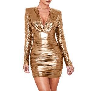 Женское блестящее обтягивающее платье из искусственной кожи, с v-образным вырезом и рюшами, вечерние и рождественские Клубные платья из иск...