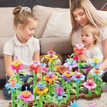 109 teile/satz DIY Pädagogisches Blume Anordnung Spielzeug Kreative Bunte Verbindenden Rohrleitungen Blöcke Gebäude Garten Spiel für Mädchen