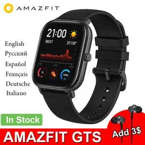 Image 1 - جديد Amazfit GTS النسخة العالمية ساعة ذكية معدل ضربات القلب هوامي مع نظام تحديد المواقع 5ATM مقاوم للماء Smartwatch دعم لنظام أندرويد IOS