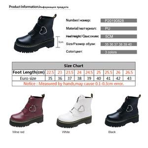 Image 5 - Милые ботинки на платформе; женская зимняя обувь; коллекция 2019 года; модная женская обувь из искусственной кожи на молнии; ботильоны с пряжкой в форме сердца