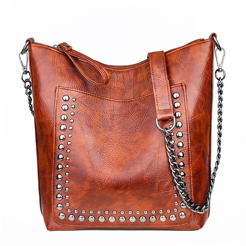 Designer Bags Famous Brand Women Bags 2019 Winter Leather Chains Tote Bag Ladies Rivet Bucket Messenger Shoulder Bag Sac A Main