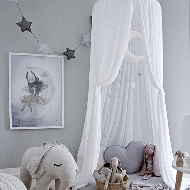 Baby Tent Hanging Lace Kid Bedding Round Dome Bed Canopy Bedcover Net Curtain Home Bed Crib Layer Yarn Playing Game Baby