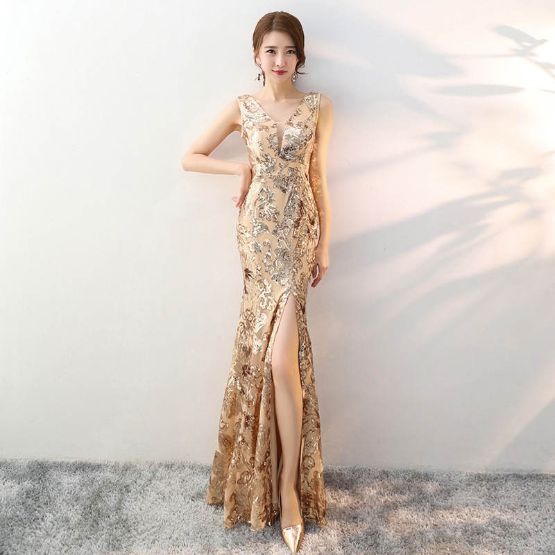 Wedding Qipao <font><b>Sexy</b></font> Long Robe Retro Fashion <font><b>Party</b></font> <font><b>Evening</b></font> <font><b>dress</b></font> Cheongsam Oriental <font><b>Dress</b></font> Chinese Style <font><b>Women</b></font> gold <font><b>dress</b></font> 2020 image