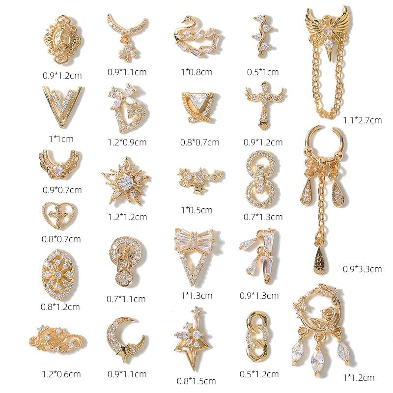 2 шт., роскошные стразы из циркония для дизайна ногтей, кисточки/Сердце/крыло, Длинные украшения для ногтей