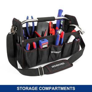 """Image 2 - WORKPRO 16"""" 600D Foldable Tool Bag Shoulder Bag Handbag Tool Organizer Storage Bag"""