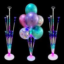 Conjunto de balões de ar com luz de led, balões de decoração para festas de aniversário infantis, casamento, suporte para bolas de hélio, 1/2 conjuntos globos balão adulto