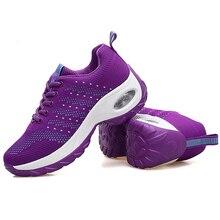 Mulher única corrida altura crescente sapatos respirável ao ar livre caminhada formadores tecelagem tênis casuais senhoras