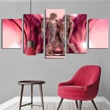 Современный декоративный постер розовый фон Картина на холсте