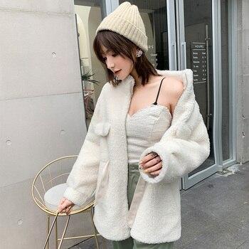 BARESKIY/женское кашемировое пальто, вязаное пальто, свитер с длинными рукавами и отворотом, однотонное тонкое пальто, плотное корейское теплое