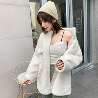 BARESKIY ladies cashmere coat knit coat lapel long sleeved sweater solid color slim coat thick Korean warm new cashmere coat