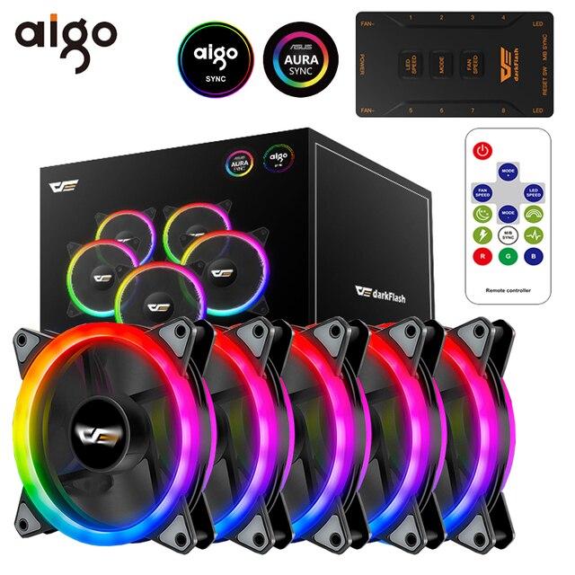 $ US $9.99 Aigo DR12 Pro Computer PC Case Fan RGB Adjust LED Fan Speed 120mm Quiet Remote AURA SYNC Computer Cooler Cooling RGB Case Fans