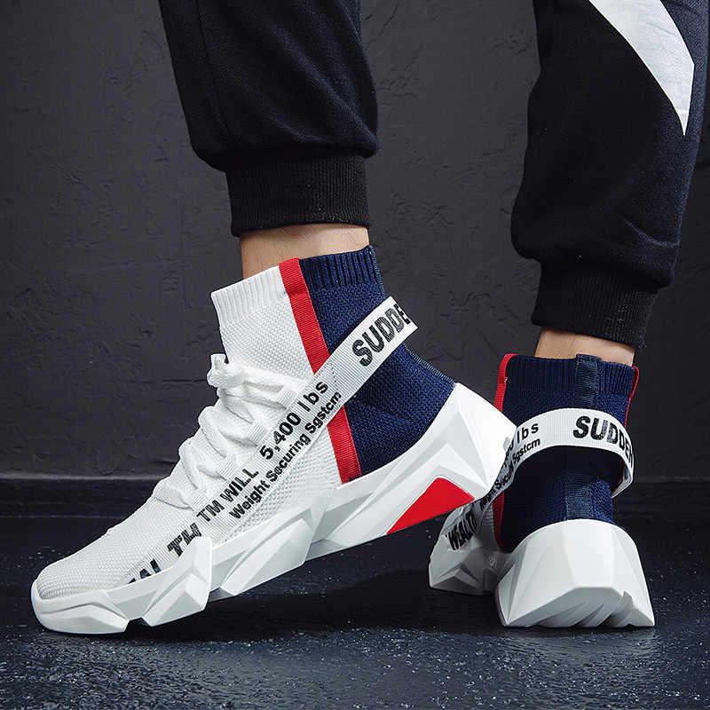 Marca outono de alta-topo meias tênis masculino sapatos 2020 novo fundo grosso masculino sapatos casuais respirável leve tenis masculino