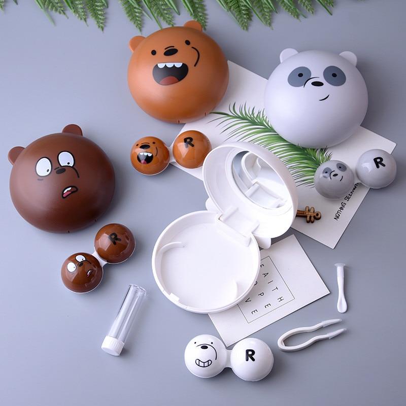 Cartoon Bear Contact Lens Case Cute Animal Contact Lens Care Suite Cute Lens Container For Women And Men