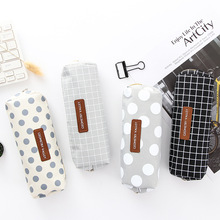 Creative simple plaid pencil bag student solid color case stationery boys and girls pen