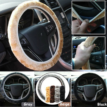 1pcs Car Steering Wheel Cover Set Soft Wool Velvet Short Plush Protector Winter Warmer Soft Texture Universal Steering Covers image