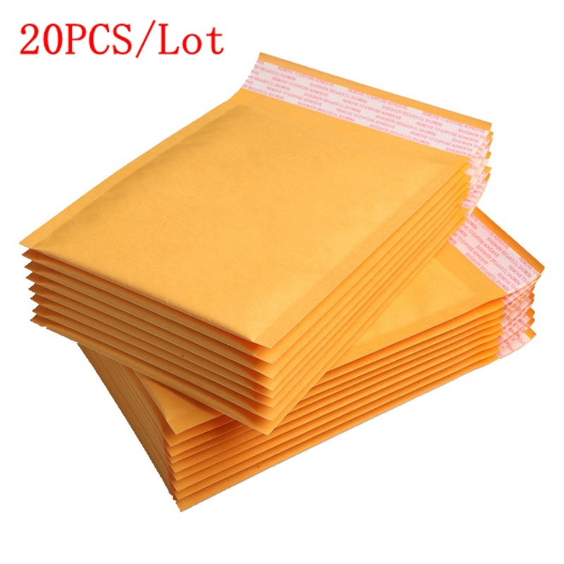 20Pcs/Set Different Size Mailing Bags Yellow Kraft Paper Bubble Envelope Bag Moistureproof Self-Seal Shipping Bags Drop Shipping