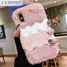 L FADNUT Luxury Elegant Fur Case For Huawei P20 Lite Case Cute Plush Silicone Soft TPU Cover For Huawei P30 Mate 20 Pro Coque