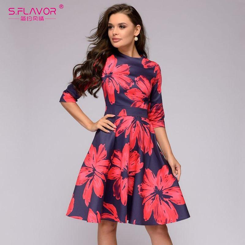 S.FLAVOR Women Red Flowers Printing Short Dress Autumn Winter Fashion Casual A-line Patry Dress Elegant 3/4 Sleeve Vestidos