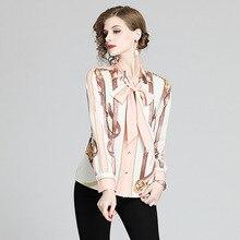 Spring Runway Fashion Office Printed Blouses Shirts Women Long Sleeve Bow Ribbon Tops Elegant Workwear Blusas Lady Luxury Shirts