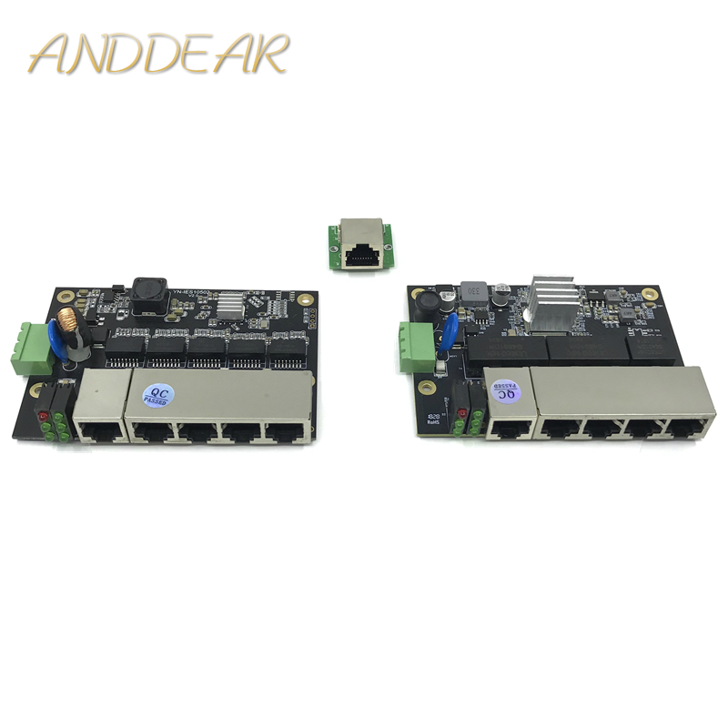 5 Ports Industrial Ethernet Switch Module  Unmanaged 100/1000mbps  PCBA Board OEM Auto-sensing Ports PCBA Board OEM Motherboard