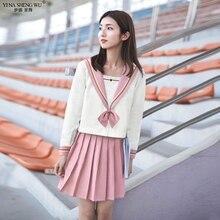 Schoolgirl-Uniform Japanese Sailor-Suits Cosplay-Costume JK Pink White Students Kansai-Lapel