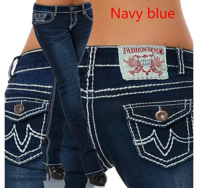 Pantalones de tubo de cintura alta para mujer, vaqueros con bordado de hilo grueso, moda Sim, pantalón largo Sexy, cintura elástica, 2020 3
